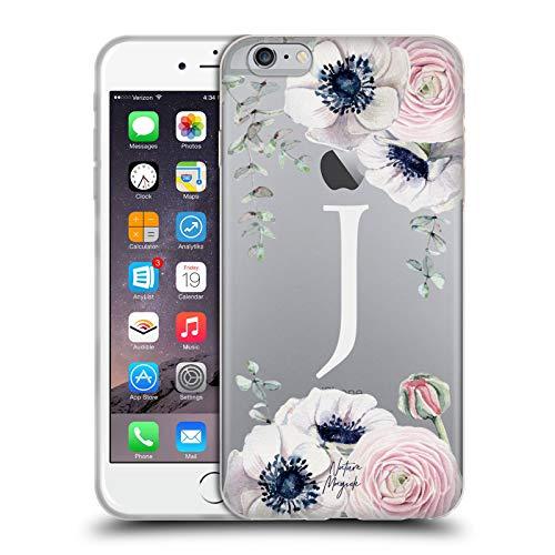 Official Nature Magick Letter J Watercolour Flower Monogram 1 Soft Gel Case Compatible for iPhone 6 Plus/iPhone 6s Plus (Letter Case 6 J Iphone)