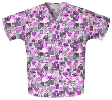 ve Print Two Pocket Scrub Top (Large) (Cherokee Print V-neck Scrub)