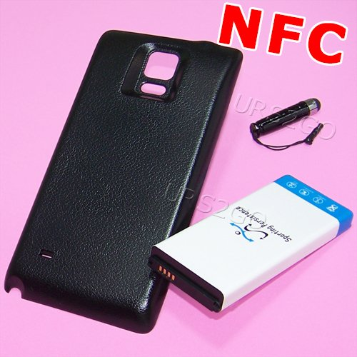 Extra Capacity Battery Door - High Capacity 11900mAh Extra Replacement Extended NFC Chip Battery Thicker Door Cover Stylus for Sprint Samsung Galaxy Note 4 IV SM-N910P Phone