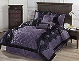 Cozy Beddings Victoria 7-Piece Floral Flocking Comforter Set, Queen, Purple/Black