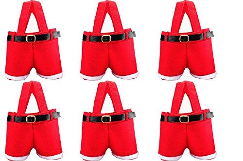 HOSL 6 Pack Christmas Presents Basket Christmas Candy Bags Christmas Gift Bags Portable Santa Apple Gift Bag Wedding Candy Tote Bag Christmas Gift Box Santa Pants Gift For Party Home Decor