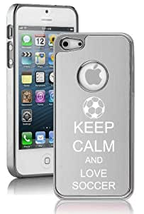 Apple iPhone 5 5S Silver 5E1004 Aluminum Plated Chrome Hard Back Case Cover Keep Calm and Love Soccer