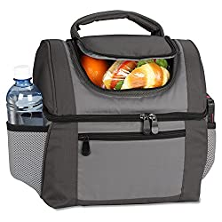 Large Dual Compartment Insulated Lunch Bag / Lunchbox / Cooler by Sacko For Adults Men Women. Great for Work Camping Picnics The Beach etc.