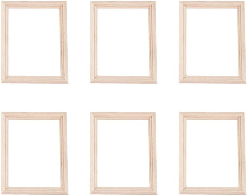 Exceart 6Pcs 1/12 Wood Dollhouse Furniture Unfinished Mini Photo Frame Artificial Miniature Scene Model DIY Wall Art Painting Toys for Nursery Room Photo Props