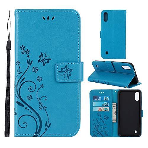 Butterfly Floral Wallet - Lacass Floral Butterfly PU Leather Flip Wallet Case Cover Kickstand with Card Slots and Wrist Strap for Samsung Galaxy A10 SM-A105FDS Case (Blue)