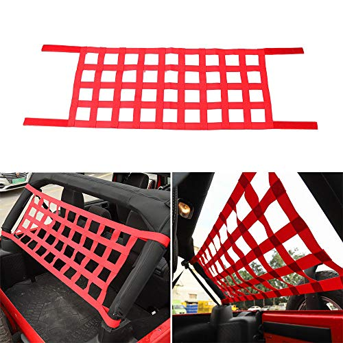 Red Multifunction Car Top Roof Hammock Bed Rest Cargo Net Cover for Jeep Wrangler TJ JK JL 1997-2018