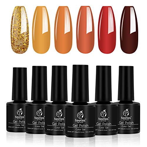 Beetles Gel Polish Gold Yellow Red Set, Fall 6 Colors Nail Polish Autumn Pumpkin Spice Orange Glitter Gel Nail Polish Soak Off UV Nail Lamp LED Cured, 7.3ml Each Bottle for Nail Art