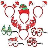 toyandona 4pcs christmas headbands with 4pcs xmas eyeglasses photo props decoration supplies for