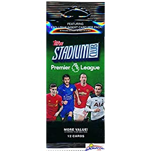 2016/2017 Topps Stadium Club English Premier League Soccer Factory Sealed FAT PACK with 12 Cards Including EXCLUSIVE Golazo Foil Parallel! Look for Cards & Autographs of all the Top Stars of the EPL!