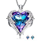 NEWNOVE Heart Ocean Necklace Love Heart Pendant Necklaces for Women Made with Swarovski Crystals