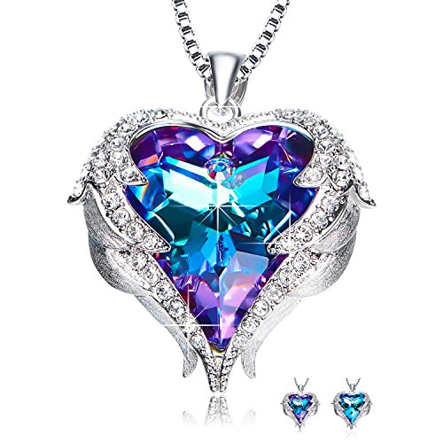 """NEWNOVE """"Heart of Ocean"""" Love Heart Pendant Necklaces for Women Made with Swarovski Crystals"""