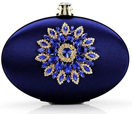 Sacs de Soirée Robe d'épaule Femme d'oeuf Mariage Chaîne WBAG en de blue Soie Forme Pochette pwqazSH