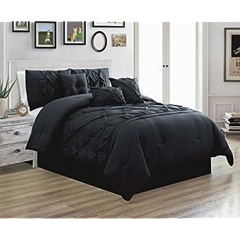Amazon Com 7 Piece Solid Black Micro Suede Comforter Set