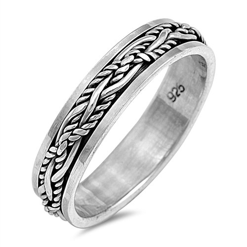 Oxford Diamond Co Solid Fashion Celtic Spinner Band .925 Sterling Silver Ring Size -