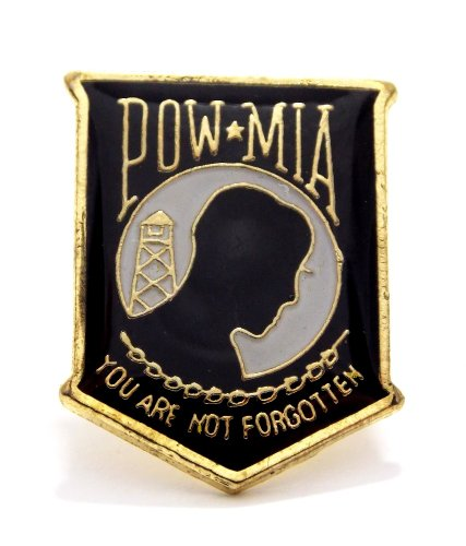(Wholesale Lot of 12 POW MIA Shield Military Hat Lapel Pins T008)