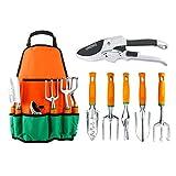 Garden Tool Set, UKOKE 7 Piece Aluminum Garden Tool Kit, Gardening Apron ...