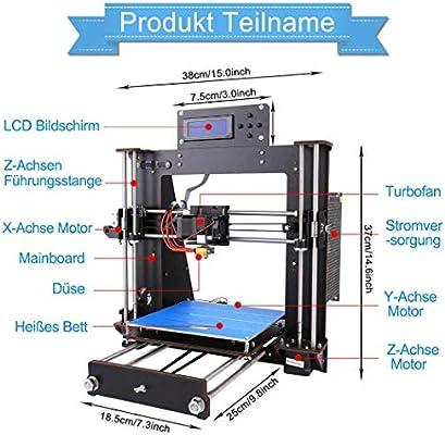 DIY Impresora 3D,ColorFish Prusa i3 MK8 Boquilla de Alta Precisión Autoensamblado Desktop DIY 3D Impresoras con 1,75 mm ABS/PLA filamento, Tamaño de ...