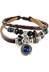 Blue Bead Three Strand Leather Zen Bracelet Adjustable in Gift Box