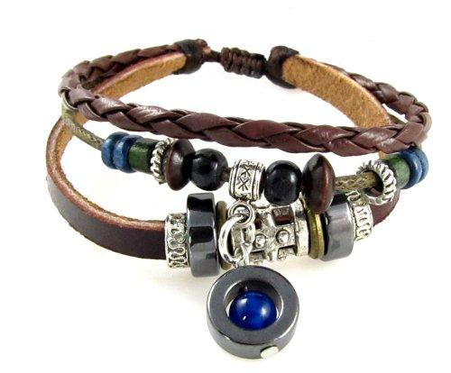 Beautiful Silver Jewelry Blue Bead Three Strand Leather Zen Bracelet Adjustable in Gift Box