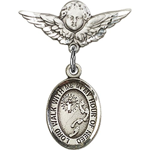 Sterling Silver Baby Badge with Footprints / Cross Charm and Angel w/Wings Badge Pin 7/8 X 3/4 inches