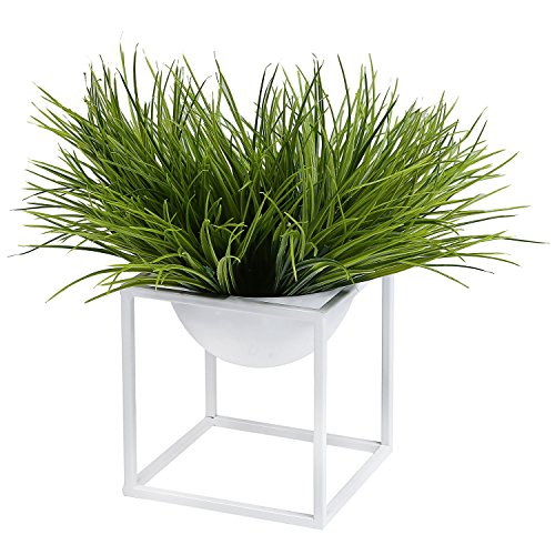 Modern Metal Cube Frame Planter Bowl, Decorative Accent Vase with Attached Framework Stand, White