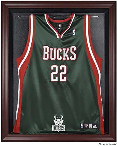 Milwaukee Bucks Mahogany Finished Logo Jersey Display Case by Sports Memorabilia