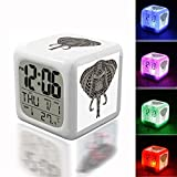 Wake Up Alarm Thermometer Night Glowing Cube 7 Colors Clock LED for Bedroom&Table,School Desk Customize 202. photo Glass Factory Elephant Head Art Metallizer