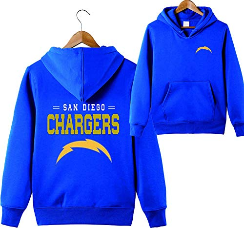 (Men's Hooded Long Sleeve Letters Print San Diego Chargers Footabll Sports Solid Color Pullover Hoodies(3XL,Blue))