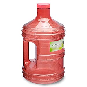 1 Gallon BPA FREE Reusable Plastic Drinking Water Big Mouth Bottle Jug Container with Holder - Red