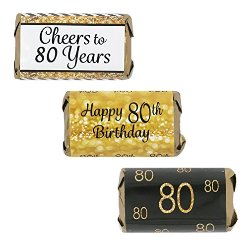 80th Birthday Party Miniatures Candy Bar Wrapper Stickers - Gold and Black (Set of 54) (Candy Bar For Party)