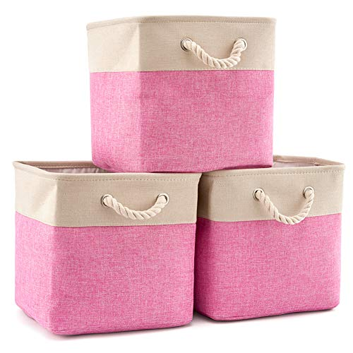 (EZOWare 3-Pack Collapsible Storage Bins Basket Foldable Canvas Fabric Tweed Storage Cubes Set with Handles for Babies Nursery Toys Organizer (13 x 13 x 13 inches) (Cream/Pink))