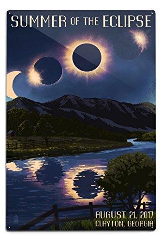 Lantern Press Clayton, Georgia - Solar Eclipse 2017 - Summer of The Eclipse (12x18 Aluminum Wall Sign, Wall Decor Ready to Hang) by Lantern Press