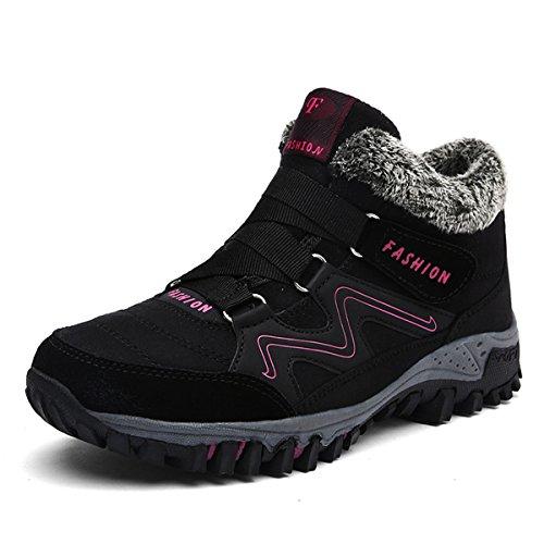 Gracosy Alta Cima Sneaker, Donne Inverno Caldo Gancio Scarpe Da Neve Fodera In Pelliccia Stivali Casual Stivaletti Alla Caviglia Nero
