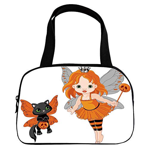 iPrint Vogue Small Handbag Pink,Halloween,Halloween Baby Fairy and Her Cat in Costumes Butterflies Girls Kids Room Decor Decorative,Multicolor,for Girls,Diversified Design.6.3
