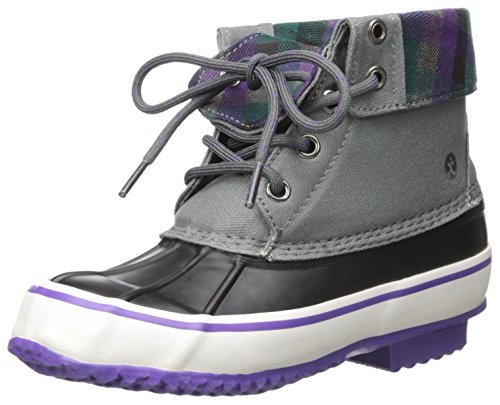 Northside Carrington Girl's Waterproof Lace-up Duck Boot (Little Kid/Big Kid), Gray/Purple, 3 M US Little Kid -