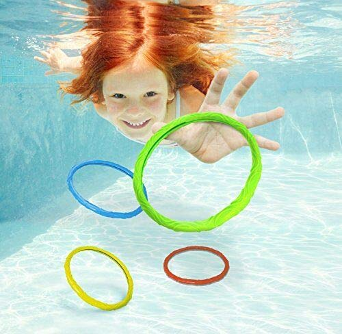 FidgetGear Aqua Dive Rings Pool Toy 6 Ring Game Set Dive & Retrieve Ages 5 and Up Show One Size by FidgetGear