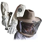 Goodland Bee Supply Natural Cotton and Sheepskin Beekeeping Gloves & Beekeepers Veil & J-Hook Hive Tool (Small)