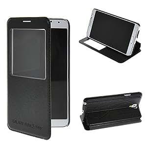 Note 3 Neo Funda,COOLKE [Negro] Flip View window Cover PU Cuero Con Soporte Plegable para Carcasa Funda Tapa Case Cover para Samsung Galaxy Note 3 Neo N7505