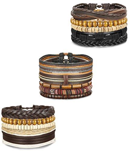 15 Leather Bracelets (FIBO STEEL 15 Pcs Leather Bracelets for Men Women Wooden Bead Bracelet Cuff Elastic,BL)