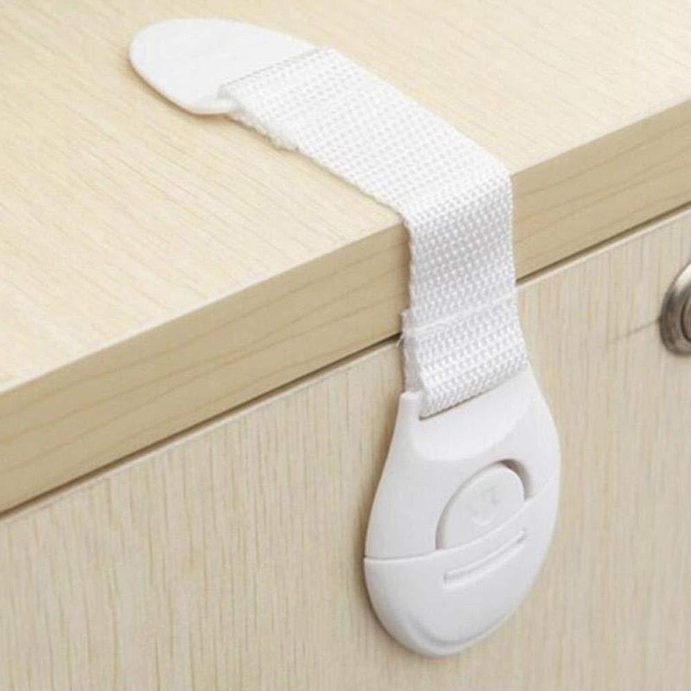 Modenny 10pcs Baby Safety Locks Kids Drawer Door Cabinet Cupboard Strap Safety Locks Lengthen Plastic Children Protection Care Locks