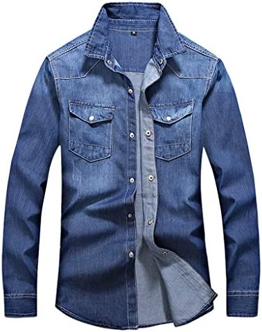 Sylar Camisas De Hombre Manga Larga Camisa Vaquera De Manga Larga para Hombre Casual Camiseta De Hombre Color Sólido Otoño Retro Denim Camisa Blusa De Vaquero Moda Slim Tops Largos Mezcla De