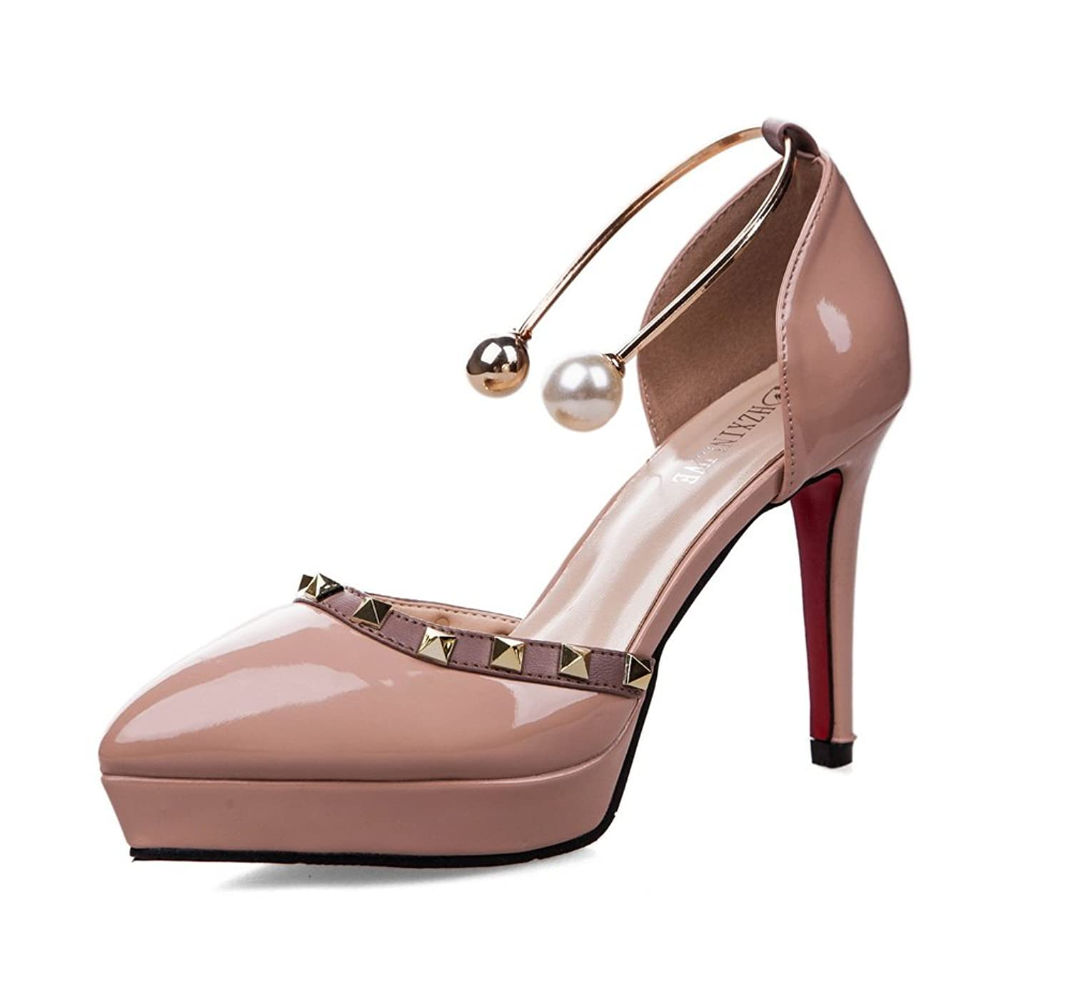 AdeeSu Womens Grommets Platform Low-Cut Uppers Patent-Leather Pumps Shoes