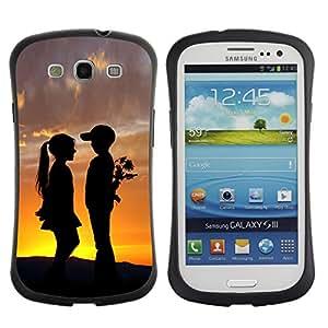 Be-Star Impreso Colorido Diseño Antichoque Caso Del iFace Primera Clase Tpu Carcasa Funda Case Cubierta Par SAMSUNG Galaxy S3 III / i9300 / i747 ( Boy & Girl Sunset Romance Kiss )