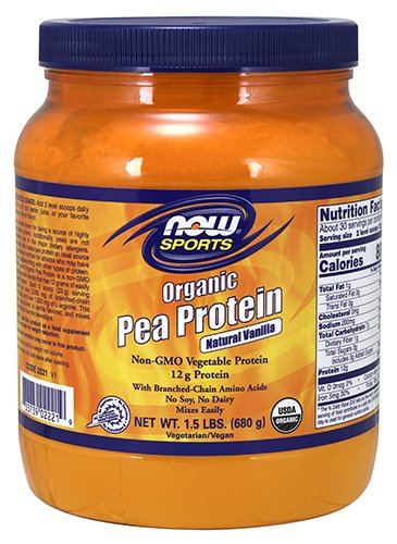 NOW Foods Organic Pea Protein, Natural Vanilla, 1.5 Pound