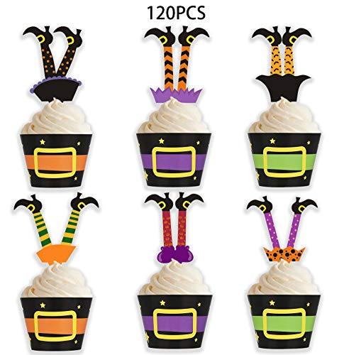 Halloween Witch Cupcakes (Halloween Cupcake Toppers Wrappers - Witch Boot Cake Party Supplies)