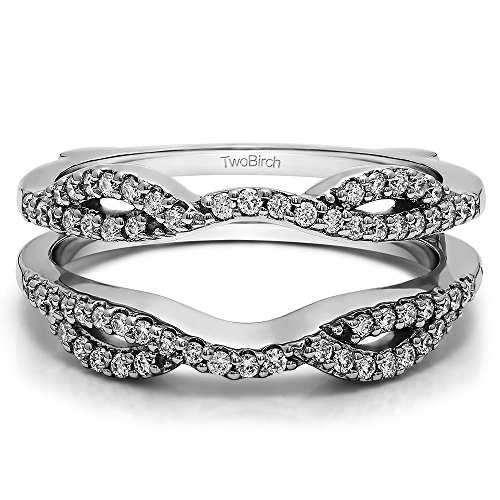 Designed Cross (0.32 ct. Cubic Zirconia Infinity Criss Cross Designed Ring Guard Enhancer in Sterling Silver (1/3 ct. twt.))