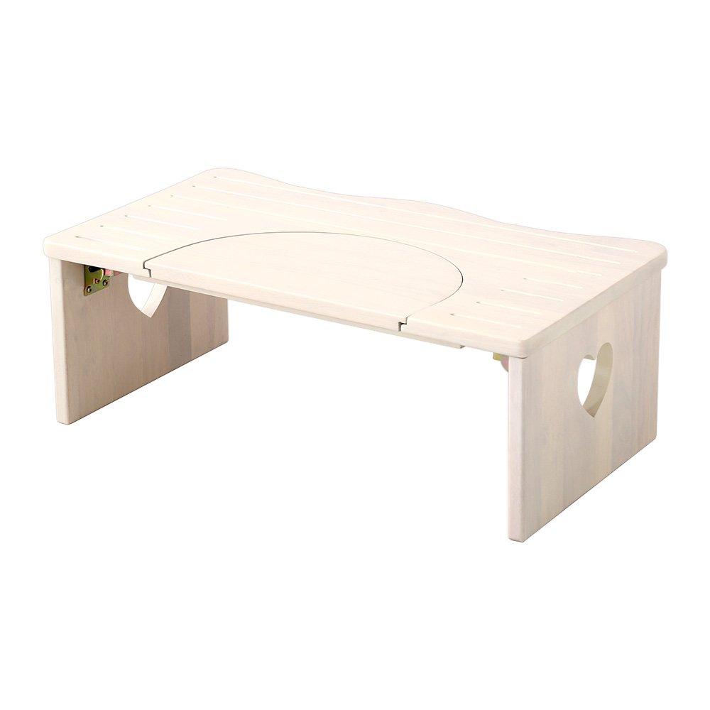 子供 踏み台 トイレや洗面所に 36.5cm 木製 ハート柄 折りたたみでコンパクトに 子ども 折り畳み ステップ サリタ ホワイトウォッシュ B06Y667FFK ホワイトウォッシュ ホワイトウォッシュ