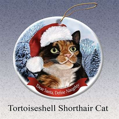 Holiday Gift Tortoiseshell Shorthair Cat Santa Porcelain Christmas Tree Ornament -