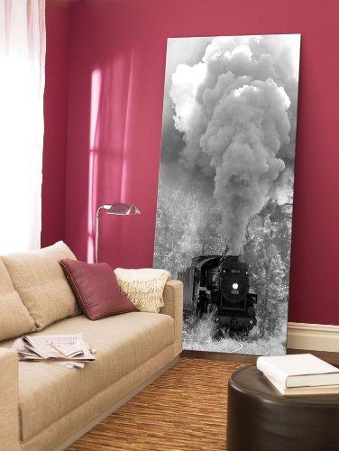 Startonight Canvas Wall Art Steam Train, Retro USA Design for Home Decor, Dual View Surprise Artwork Modern Framed Ready to Hang Wall Art 23.62 x 47.2 Inch 100% Original Art ()