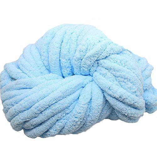 Sky Blue Fat Chenille Yarn,Arm Knitting Yarn,Fluffy Chunky Yarn for Arm Knitting or Hand Knitting,Chunky Blanket -